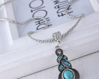 Women Retro Blue Turquoise Crystal Tibet Silver Pendant Necklace