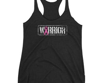 Breast Cancer - Warrior - Cancer Awareness - Breast Cancer Gift - Cancer Support - Cancer Survivor - Pink Ribbon Women's Racerback Tank