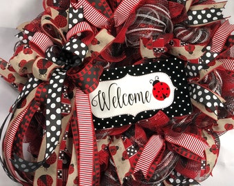 Ladybug Wreath, Summer Wreath for Front Door, Summer Wreath, Front Door Wreath, Ladybug Door Wreath, Best Summer Wreath