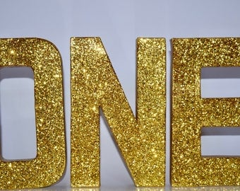 Glitter stand up letters ONE - First Birthday - Photo Prop- Cake Smash - Winter ONEderland- Glitter Letters- Party Decor