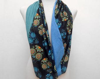 Green and Blue Sugar Skulls on Black Infinity Scarf