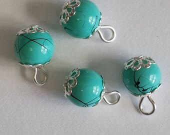 5 pendants 8mm turquoise/black glass beads