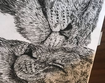 Charcoal drawing of two lions hand made