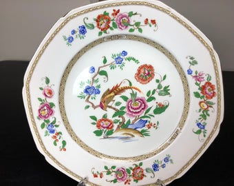 "Set of 3 F Winkle & Co Semiporcelain Hand Painted Pheasant 9"" Whieldon Ware Luncheon Plates"