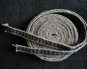 Tablet woven belt / Viking card weaving / Medieval woolen trim / Grey blue red / Belt for women / 18 mm woven strap / Price for 1 meter