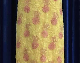 Hand Embroidered Yellow Chikankari Kurta Dress Material, Lucknawi Chikan Kurti, Hand Embroidered Kurta, Indian Ethnic Kurta, Georgette Kurta