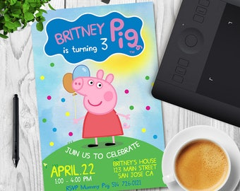 Peppa Pig Invitation, Peppa Pig Birthday, Peppa Pig Party, Peppa Pig Invites, Peppa Pig Printable