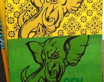 Elephant yellow and green 12 x 16 on canvas Board