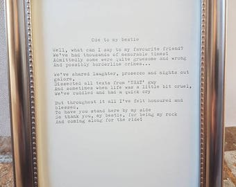 Framed poem 'Bestie'