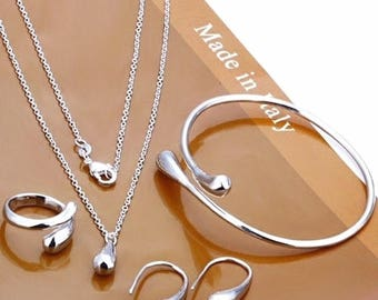 Silver Plated Water Drop Bracelet Necklace Ring Hook Oval Earrings Set