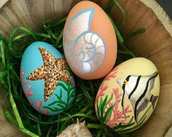 Decorative Easter Eggs with Hand painted Tropical Shells and Fish - Easter gift - Coastal Easter Decor