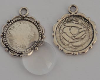 10 pieces: 5 Supports 5 14mm glass cabochon antique silver charms