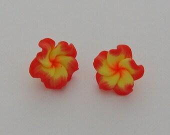 2 flowers polymer clay orange yellow - Ref: PF 710