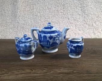 3 OCCUPIED Japan Vintage Miniature Figurine / Teapot / Crock / Creamer