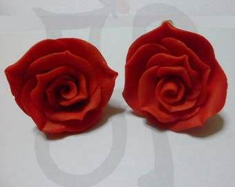Nickel-free earrings with hand made Roses