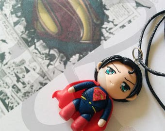 Necklace with Japanese-style Doll (mini chibi): SUPERMAN