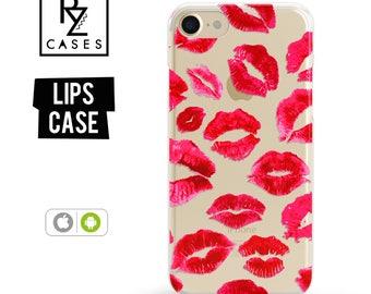 Lips Phone Case, iPhone 7 Case, Red Lips phone case, iPhone 6s, Kisses Phone Case, iPhone 5, Fashion Case, iPhone 6 Plus, Samsung Galaxy S7