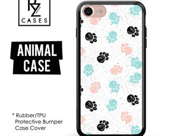 Paw Phone Case, Pet Paw Phone Case, iPhone 7, Dog Case, Paw Print Case, Animal, Cat Case, Gift for Her, 7 Plus, iPhone 6S, Rubber, Bumper
