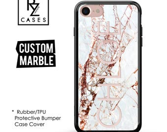 Rose Marble Phone Case, Marble Case, Personalized iPhone 7, Gift for Her, iPhone 7 Plus, iPhone 6S, Rubber Case, Bumper Case Cover
