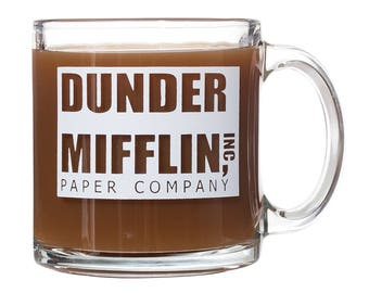 Dunder Mifflin Paper Company - The Office - Glass Double-Sided Coffee Tea Mug