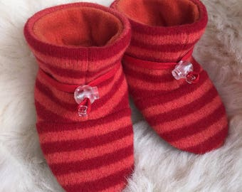 Orange and red booties from Toggle Toes, non-slip soft sole shoe, in infant 4-12 months or baby shoe size 1-3.5