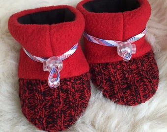 Red and black wool baby booties from Toggle Toes, non-slip soft sole shoe, in infant 4-12 months or baby shoe size 1-3.5
