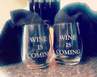Game of Thrones Winter is Coming Wine Gifts Stemless Wine Glass Mother of Dragons His and Her