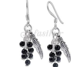 Sterling Silver Earrings,Plain Silver Earrings,Grapes Earrings,Dangle Earrings