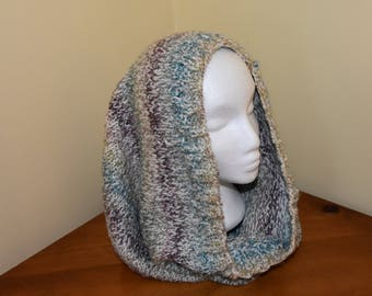 Womens Snood, Hand knitted snood, multi-coloured chunky snood, warm, cozy.