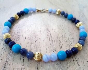 Multi-colors Blue lace agate,Turquoise,Blue Sodalite & lapis Lazuli Beads Necklace