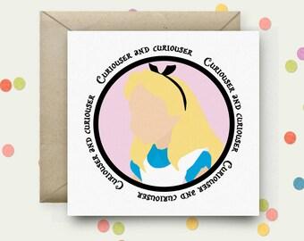 Alice in Wonderland Square Pop Art Card & Envelope