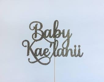 Welcome baby cake topper with name, custom cake topper, baby announcement centerpiece, glitter cake topper