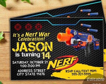 INSTANT DOWNLOAD-Nerf Invitation,Nerf Party Invitation,Nerf Birthday,Nerf Invite,Nerf Birthday Invite,Nerf Gun Invitation,Nerf Pdf Editable