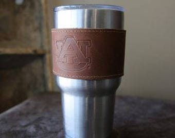 The Officially Licensed Auburn Rocket City Leather Drink Cooler Wrap with Handle – for 30oz Yeti Rambler Tumbler
