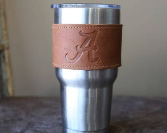 The Officially Licensed Alabama Rocket City Leather Drink Cooler Wrap with Handle – for 30oz Yeti Rambler Tumbler