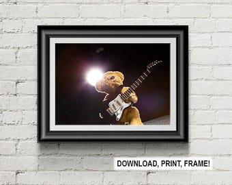 Teddy Bear Print, Bear playing guitar, Musician photograph, Teddy bear photograph, Room decor, Wall Art, digital download, printable