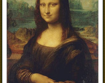 Mona Lisa cross stitch 25 count pdf download La Joconde same size as the original painting