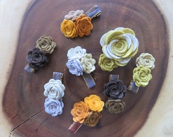 Fall GREEN AND GRAY Felt Rose Hair Clips