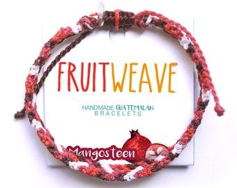 MANGOSTEEN TWIST BRACELET, Guatemalan Bracelets, Handmade bracelets, colorful bracelets, fruit based, fruit weave, friendship bracelets.