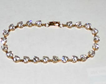 Vintage Estate 10k Yellow Gold Heart Cubic Zirconia Bracelet 6.94 Grams DEW 11.50 ct 7.25""