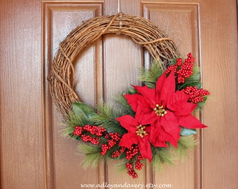 Poinsettia Wreath, Winter Wreath, Christmas Wreath, Grapevine, Red Floral Wreath, Pine Wreath