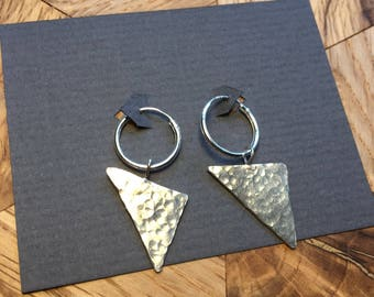 Sterling Silver Hammered Triangle Earrings