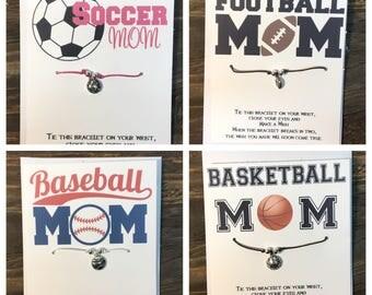 Soccer mom wish bracelet.Football mom wish bracelet.Basketball mom wish bracelet.Baseball mom wish bracelet.sports wish bracelet .sports mom