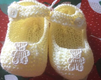 Baby Shoes with Lemon Teddy Bear applique