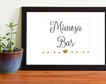 Mimosa Bar Sign, Printable Wedding Sign, Black and Gold, Instant Download