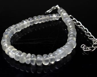 "Natural White Moonstone Round Beads Strand Bracelet 40 Carats 6"" Inches Strand, Size- 4-5 MM  Approx Code-HN30"