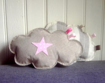 Linen cloud cushion and her tiny pink