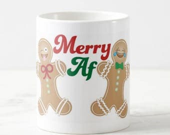 Merry AF - Big Coffee Mug Unique Coffee Mug Coffee Lover Gift Gift for Teacher Wedding Gift Cheap Christmas Gift Custom Mugs Gift Idea