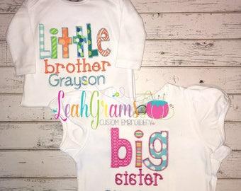 Sibling Applique Shirt- Big Brothe Big Sister Little Brother Little Sister