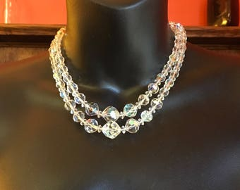 Vintage Double Strand Swarovski Crystal Necklace